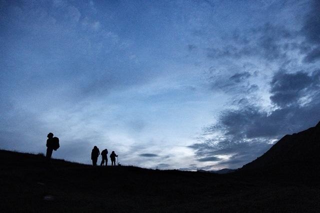 Passo della Mezzaluna di notte facendo trekking
